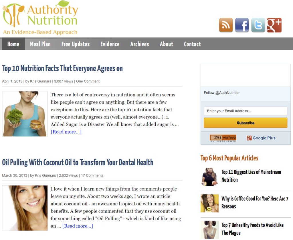 Authority Nutrition wayback screenshot from April 2013