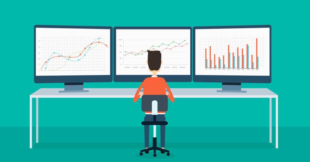 Man viewing web analytics