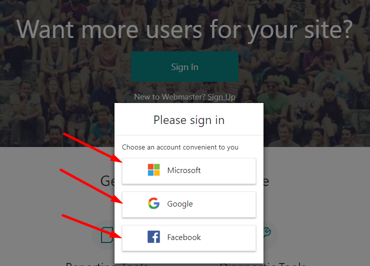Bing webmaster tools sign in screen