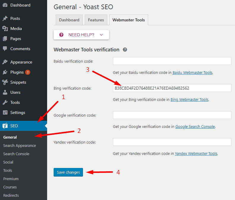 Adding the bing verification code into the yoast SEO plugin