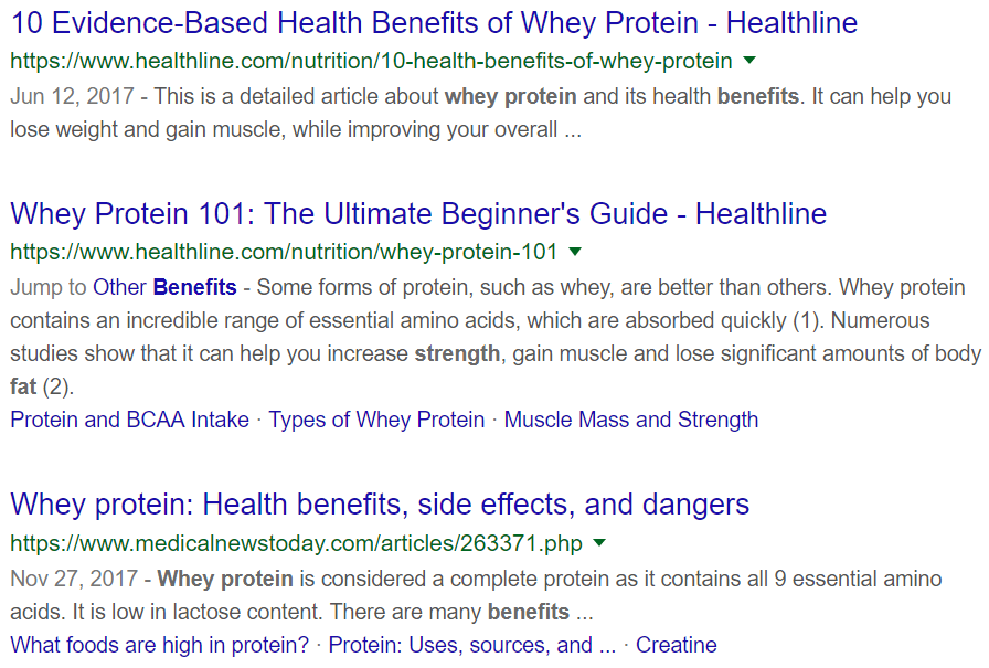 Google search results for whey protein
