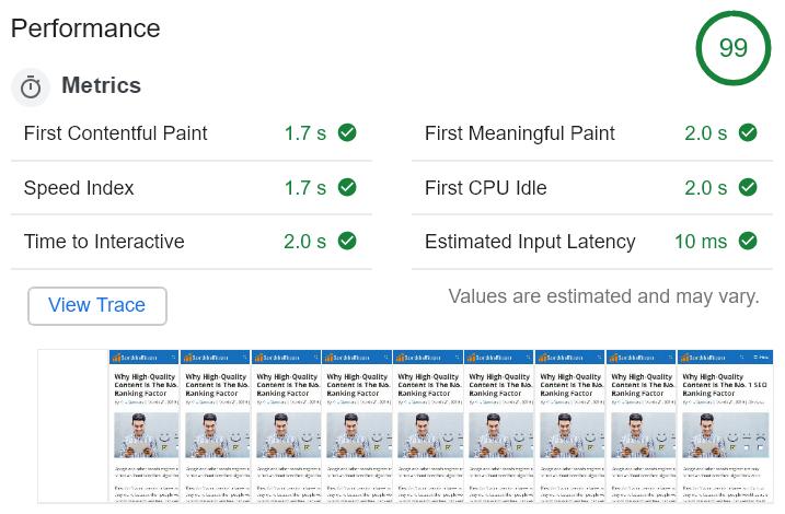 Lighthouse results screenshot