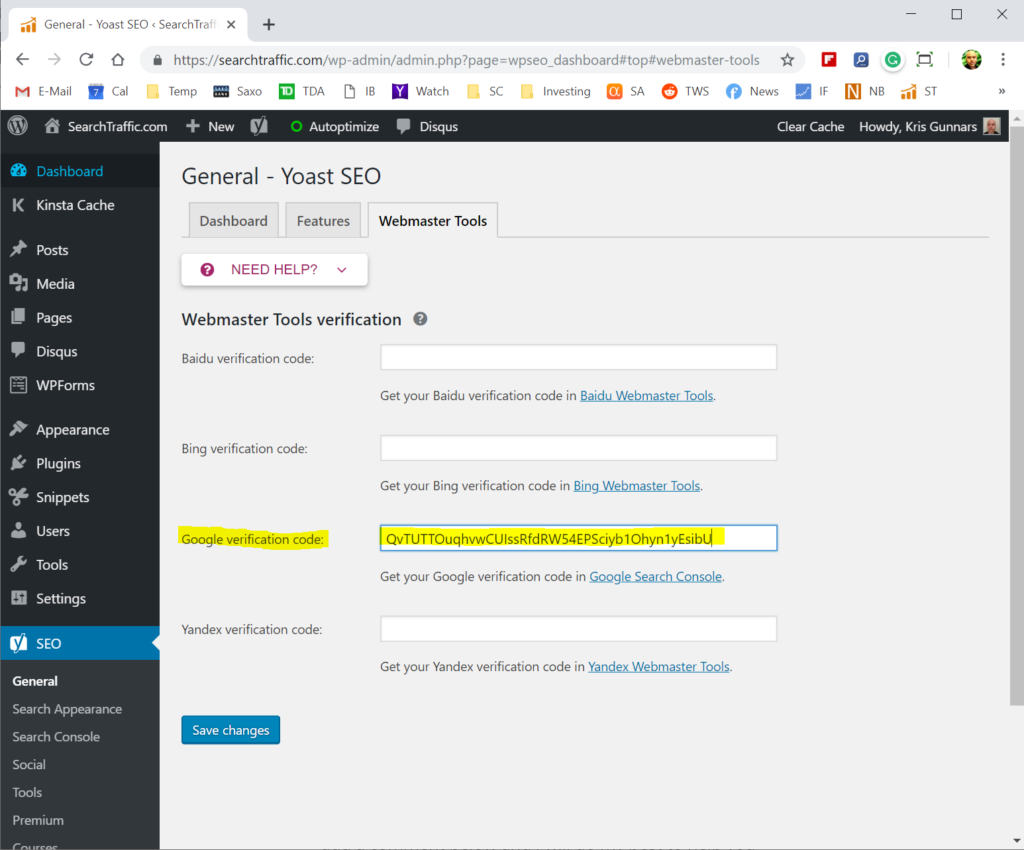 Verify in the Yoast SEO plugin