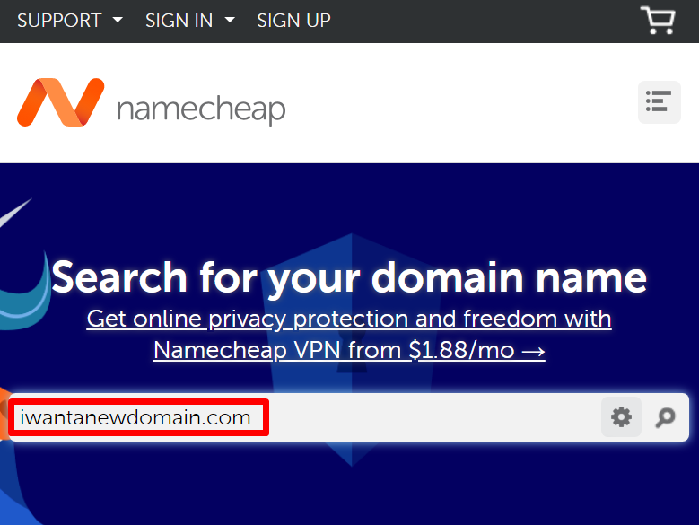 Namecheap search box