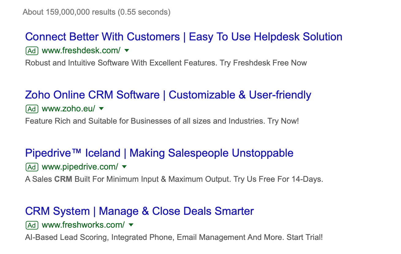 Search ads for crm systems