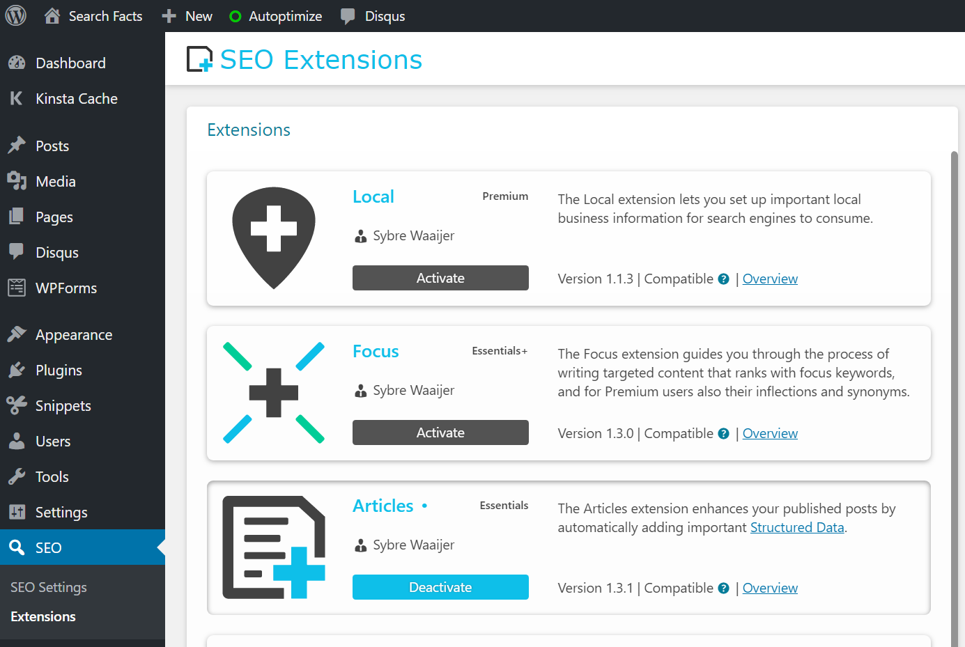 Extension manager screenshot