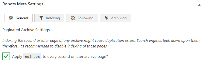 Noindex subpages of archives setting