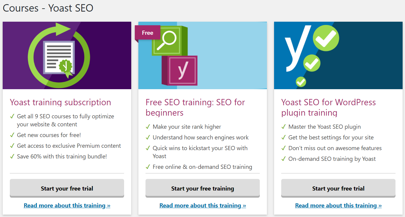 Yoast courses ads