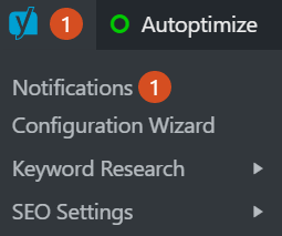 Yoast notification bar