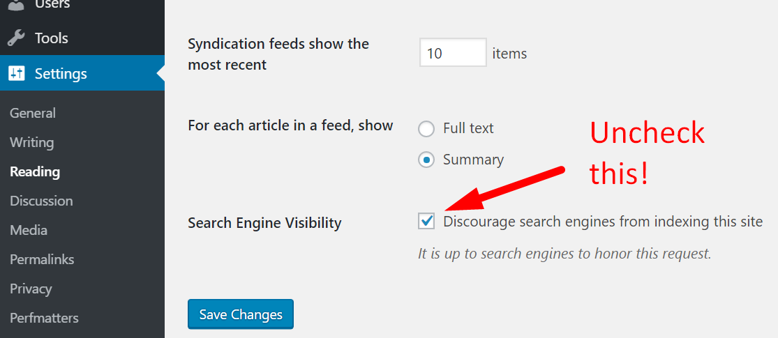 Discourage search engines from indexing in WordPress