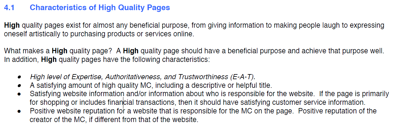 Google search quality evaluator guidelines screenshot