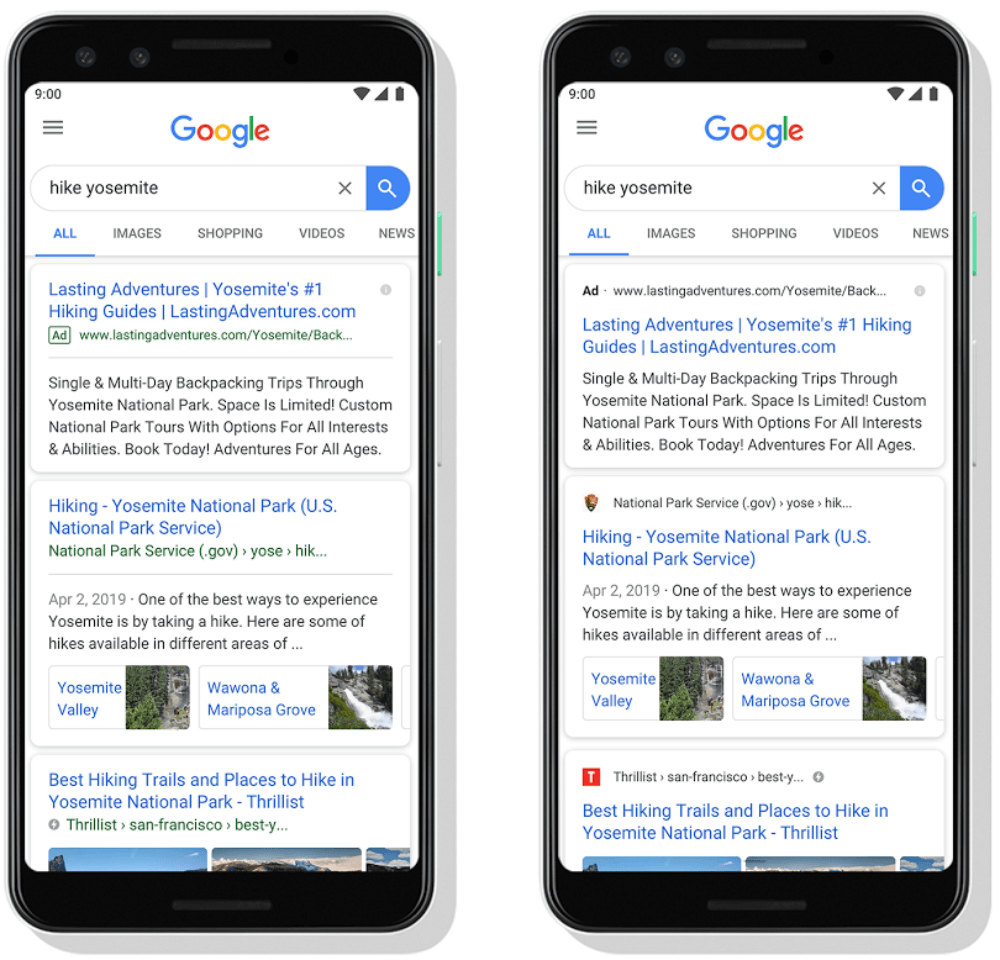 New mobile search ad look