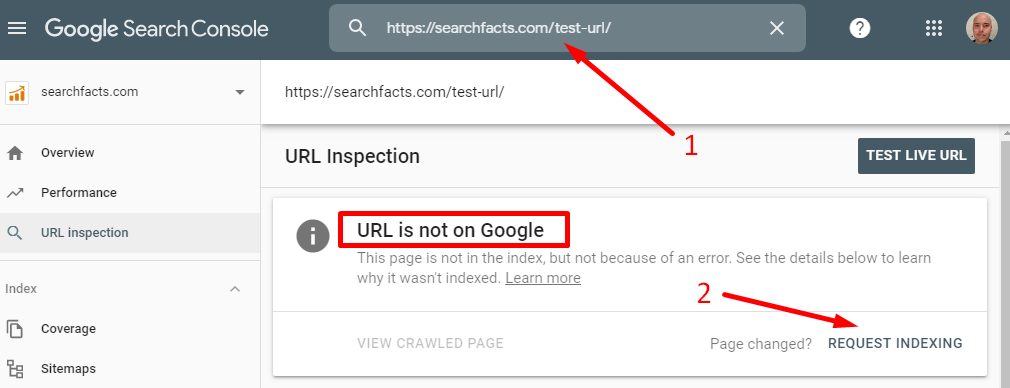 Search console request indexing