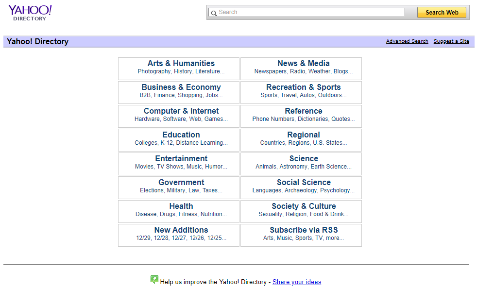 Yahoo directory in December 2013