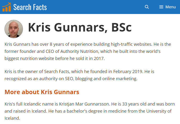 Kris Gunnars author page screenshot