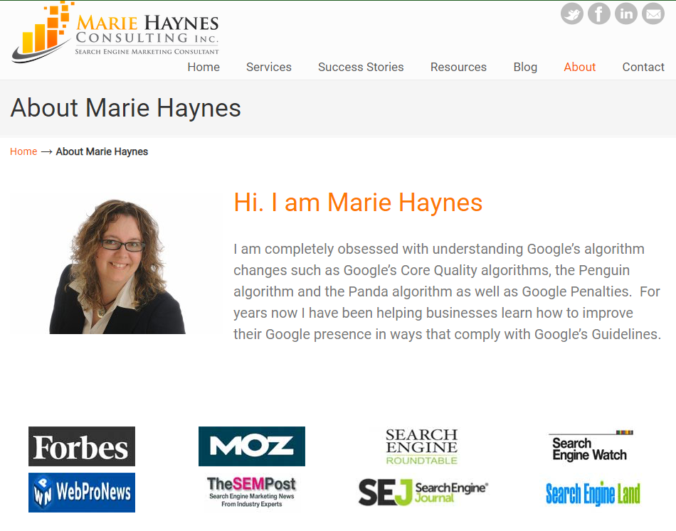 Marie Haynes about page screenshot