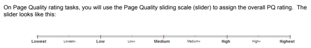 Page quality slider