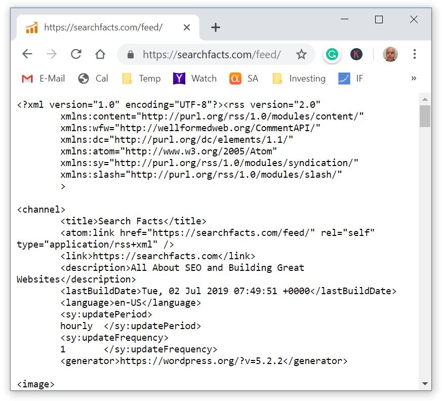 WordPress rss feed url