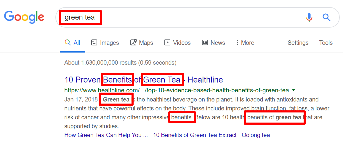 Green tea keywords in search results