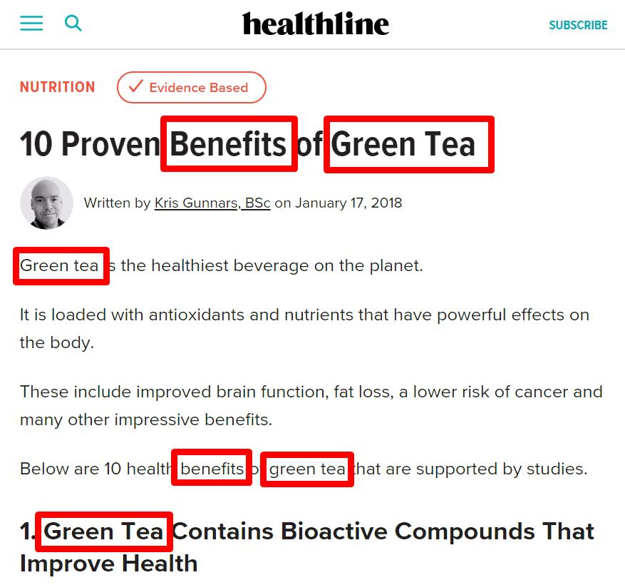 Green tea keywords on page