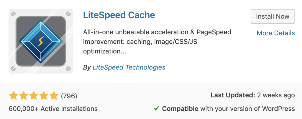 Litespeed cache plugin