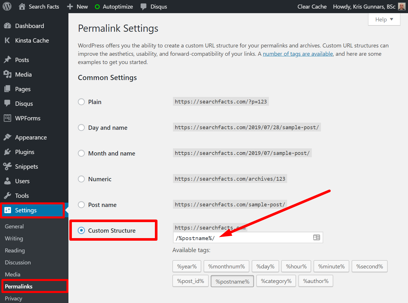 WordPress permalink and trailing slash settings