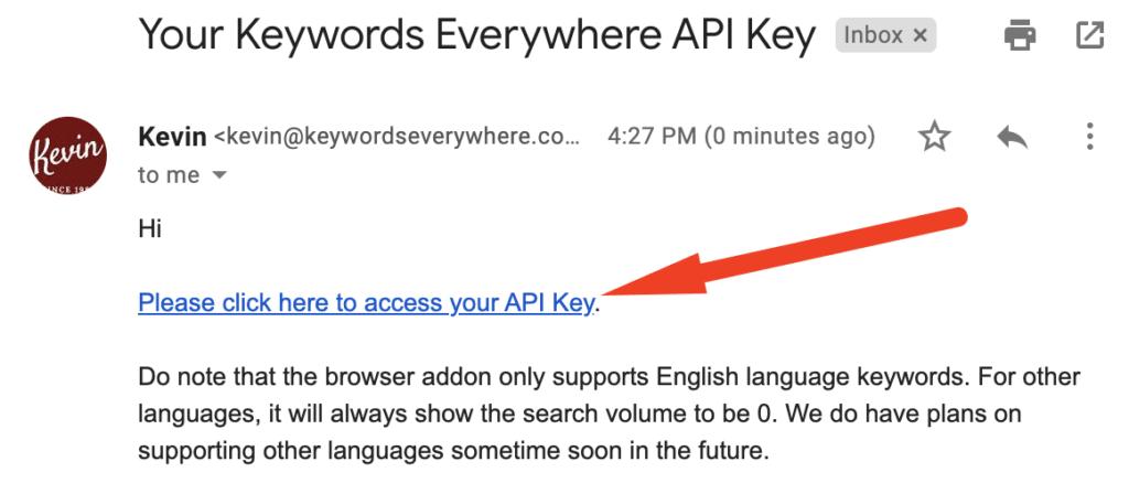 API key email