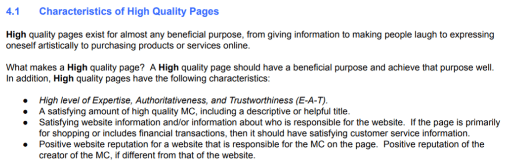 Quality rater guidelines high quality criteria