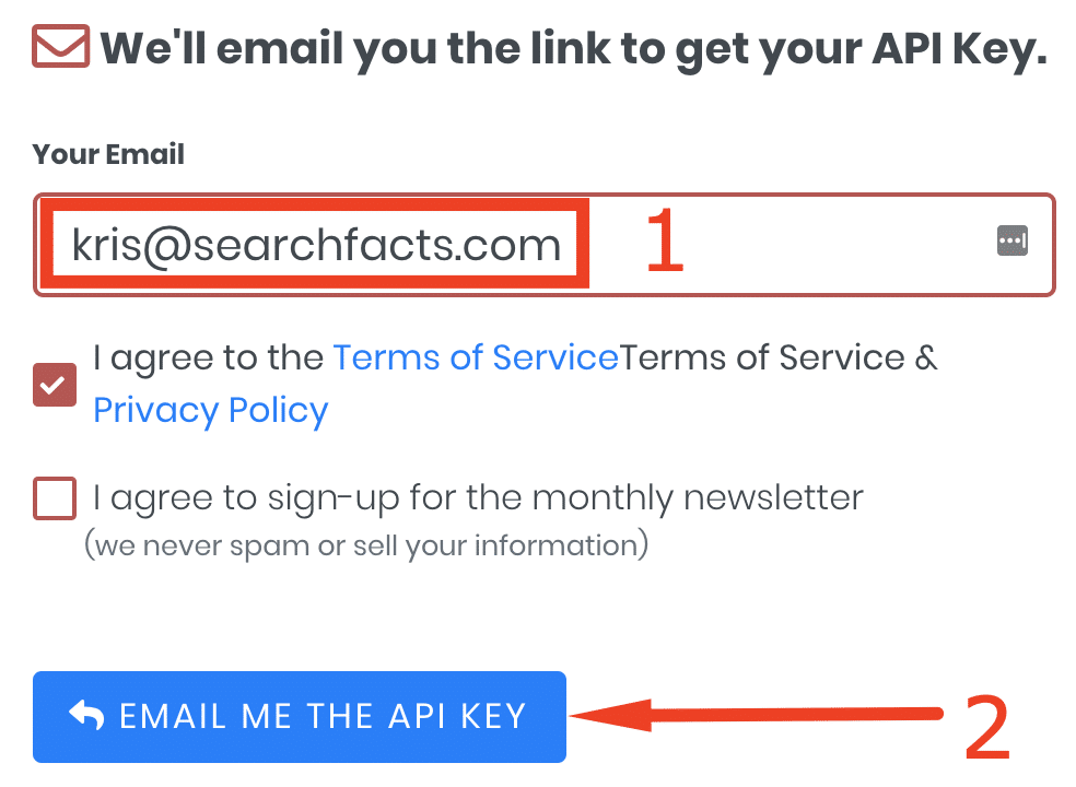 Sign up for api key