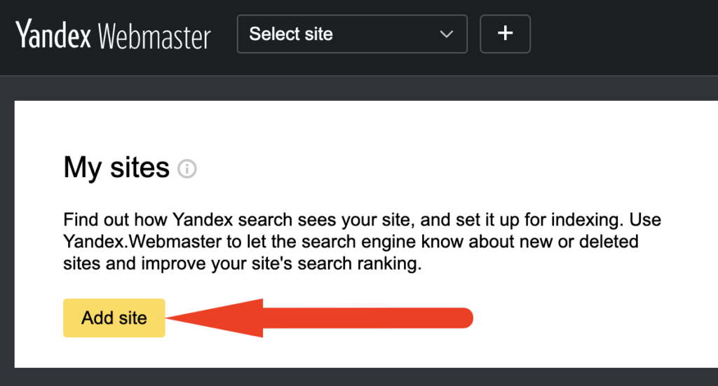 Add a site to Yandex