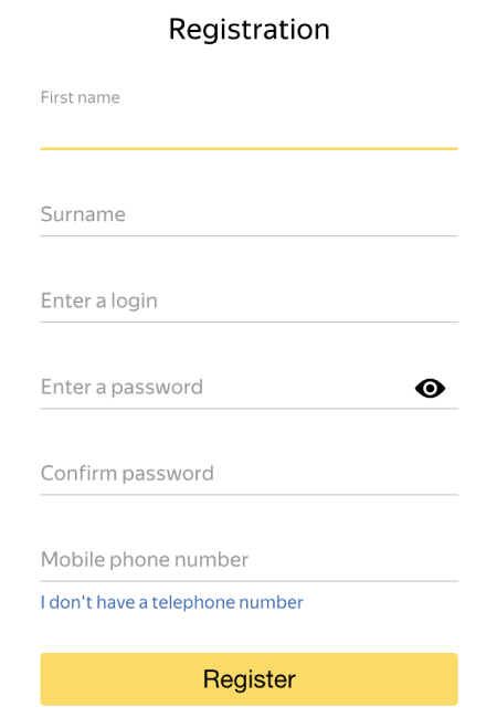 Create a Yandex account