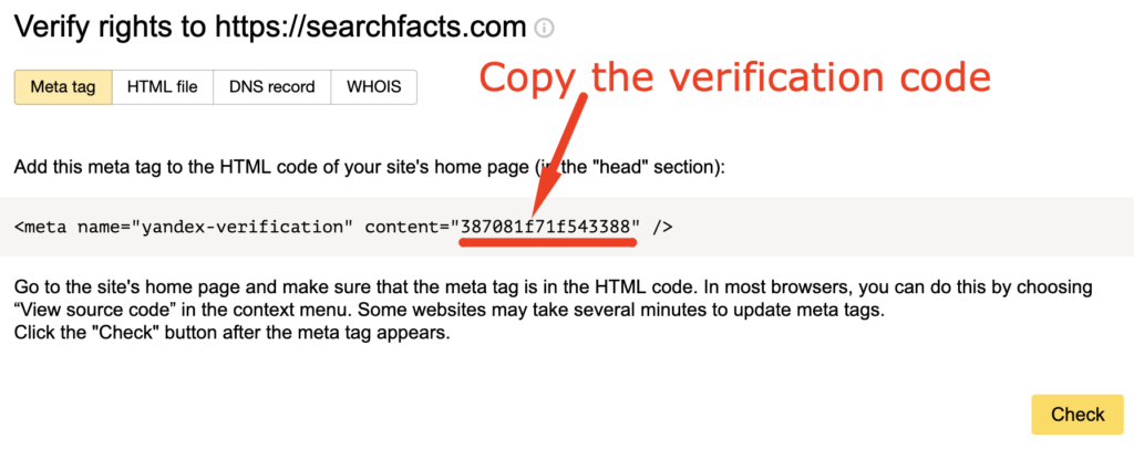Verification meta tag in Yandex webmaster tools