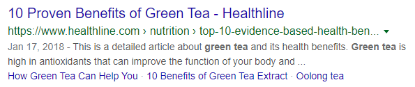 Green tea serp snippet