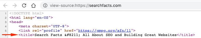 HTML source code meta title
