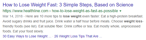 Lose weight serp snippet